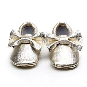 Other - Gold leather bow soft sole baby toddler moccasins